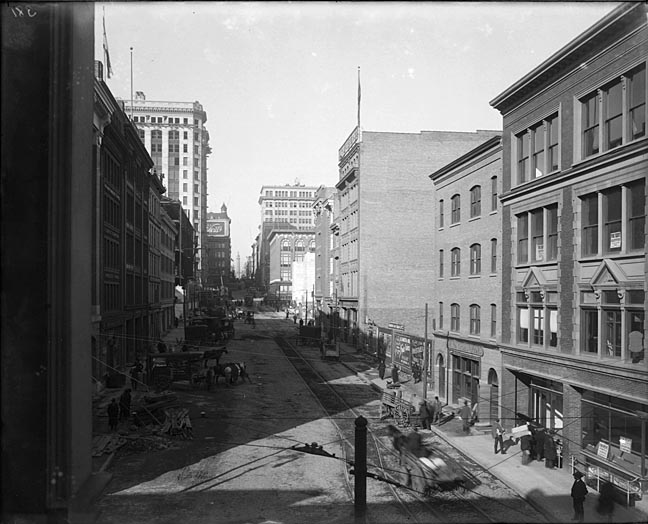 South Charles Street, looking north, Baltimore. Charles Center area. Baltimore and Ohio Railroad Company Building on left side. Baltimore and Ohio Railroad Company Collection. Baltimore City Life Museum Collection, 8x10 glass, Box 3. Note: Reference photograph.