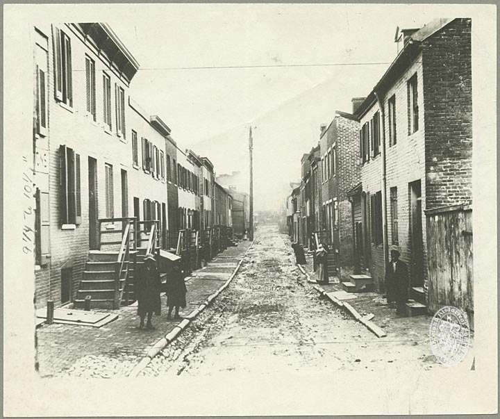 Biddle Alley, ca. 1911. Baltimore, Maryland. Subject Vertical File, Baltimore City, Streets. Featured in Housing Conditions in Baltimore: Report of a Special Committee of the Association for the Improvement of the Condition of the Poor and the Charity Organization Society, Submitting Results of an Investigation by Janet E. Kemp