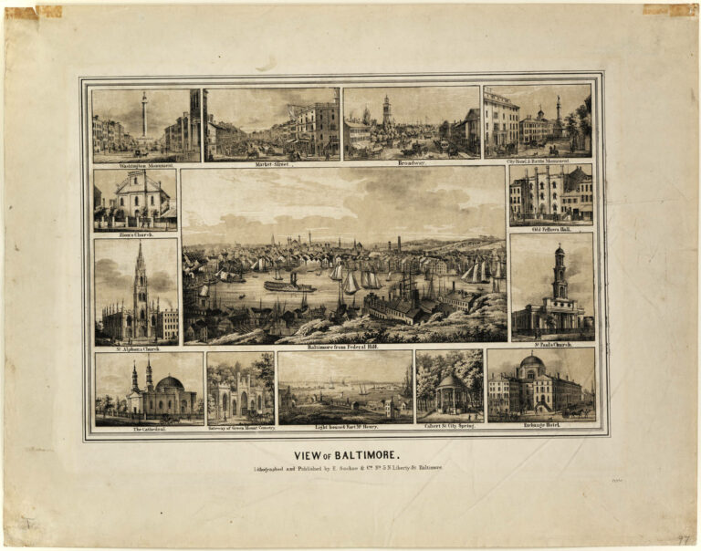 Colored lithograph by E. Sachse & Co., one of two prominent lithography companies in Baltimore in the mid-1800's, that features various views of Baltimore prior to 1853. The center view is from Federal Hill but differs somewhat from others in the collection taken from the same point. From the upper left corner, in clockwise order, the small surrounding views are as follows: Washington Monument, Market-Street, Broadway, City Hotel and Battle Monument, Odd Fellows Hall, St. Paul's Church, Exchange Hotel, Calvert Street City Spring, Lighthouse and Fort McHenry, Gateway of Greenmount Cemetery, The Cathedral, St. Alphonsus Church and Zion's Church. The Market Street scene in upper row is a miniature replica of the Market Street print in this collection, Cator Print number 168. The Odd Fellows Hall at Gay and Fayette Streets was built in 1831 and enlarged in 1843. St. Paul's Episcopal Church, built in 1817 after designs by Robert Cary Long, was destroyed by fire in 1854. It stood on the site of the present St. Paul's Church which was built immediately thereafter. Among the other prominent structures shown, Old Zion Church, St. Alphonsus Church and Greenmount Cemetery gateway are standing today. The view of the harbor was made from the landward side of the Lazaretto.