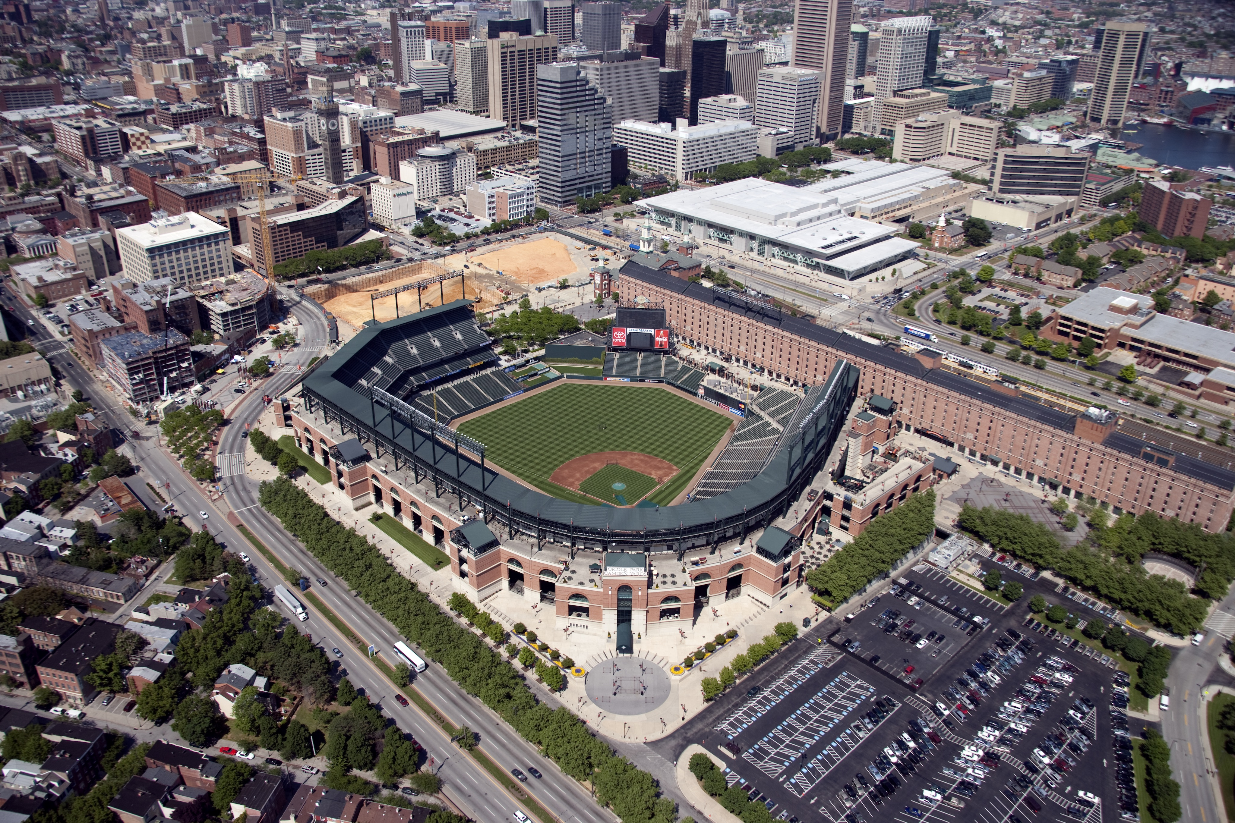 Beautiful aerial view of Oriole Park at Camden Yards in Baltimore, Maryland. May 11th, 2006
