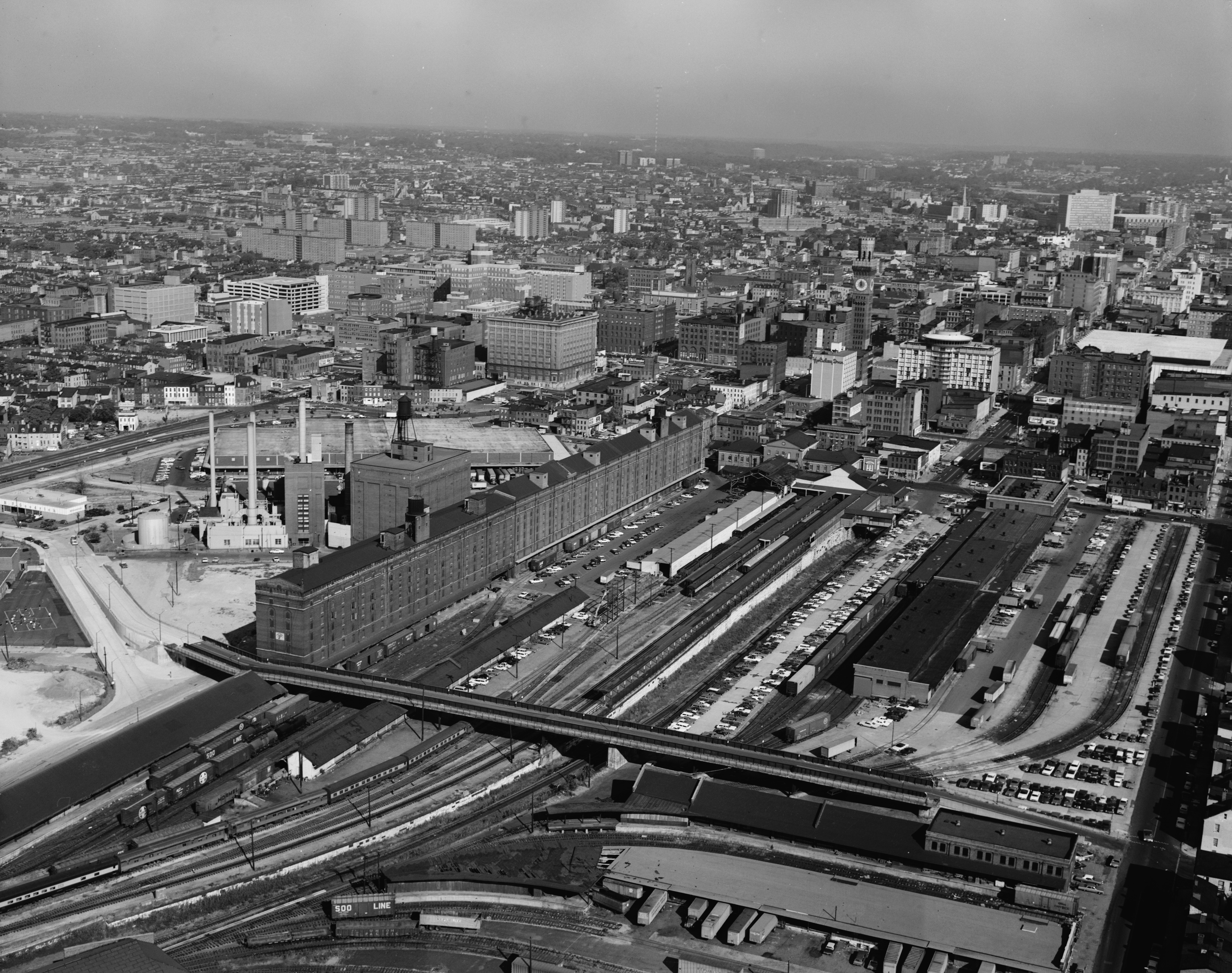 Early 1970s Aerial View Before Oriole Park at Camden Yards
