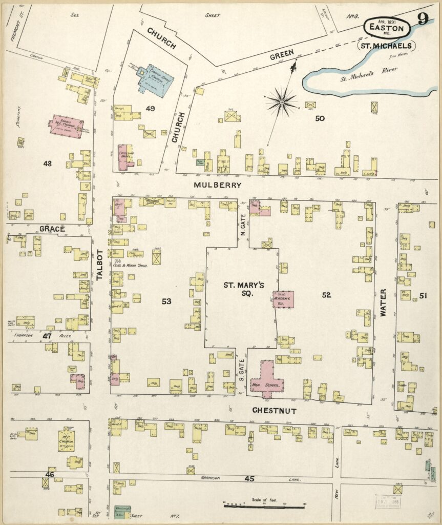 1891 map of St. Michaels, Maryland