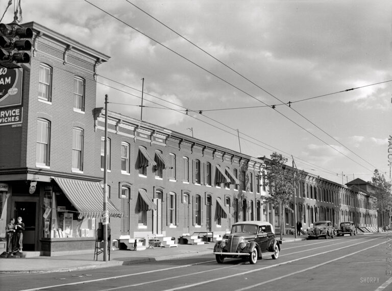 """""""Row houses, Baltimore, June 1940."""" Medium format safety negative by Jack Delano for the Farm Security Administration"""