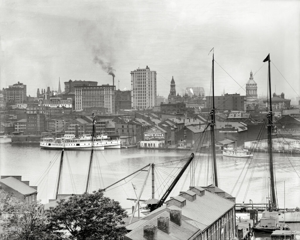 """Maryland circa 1903. """"Baltimore from Federal Hill."""" Along with a word from our sponsor. 8x10 inch glass negative, Detroit Publishing Co."""