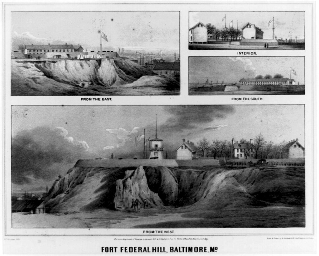 Fort Federal Hill in Baltimore. Composite of four views - from the east, interior, from the south, and from the west. (1862)