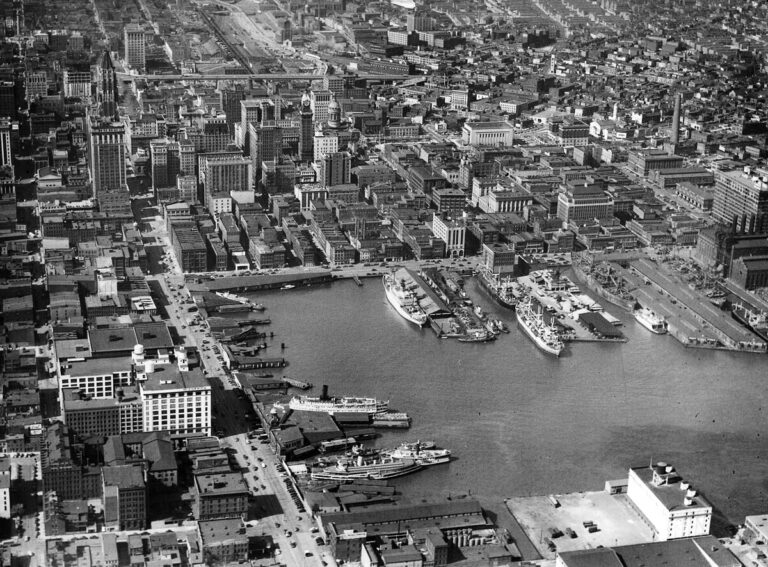 An aerial view of what is now considered the Inner Harbor shot October 20, 1948. (Robert F. Kniesche/Baltimore Sun)