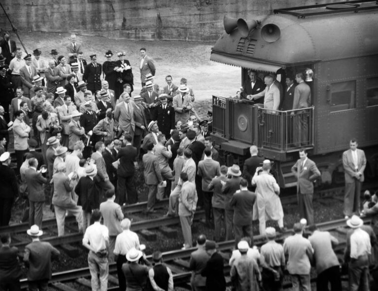 Harry S Truman addressing the crowd at a train stop in Baltimore in June of 1948. (Robert F. Kniesche/Baltimore Sun)