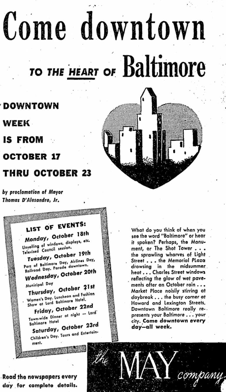 Baltimore's downtown week in 1948