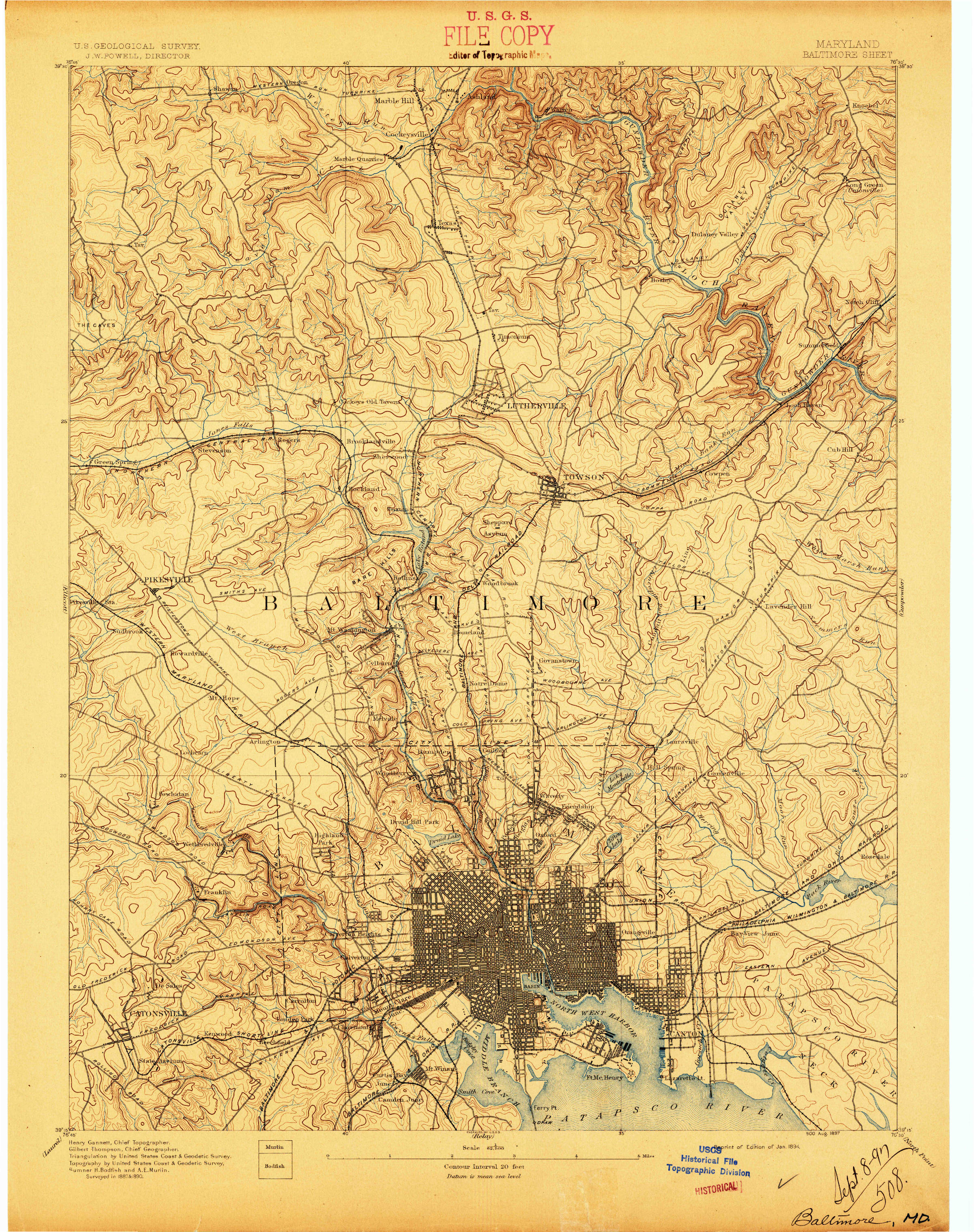 1894 Map of Baltimore