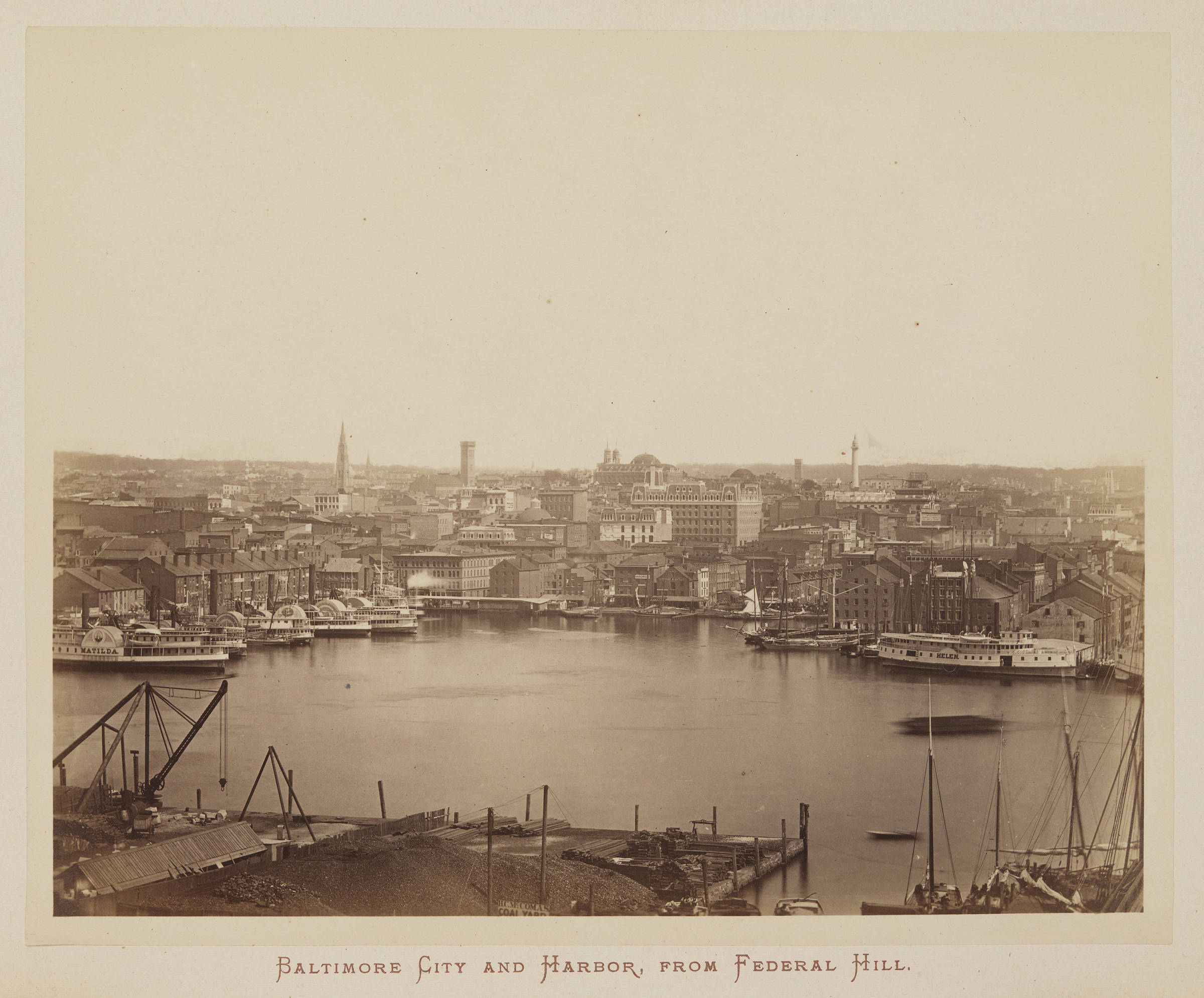 Baltimore Harbor Viewed From Federal Hill in 1872