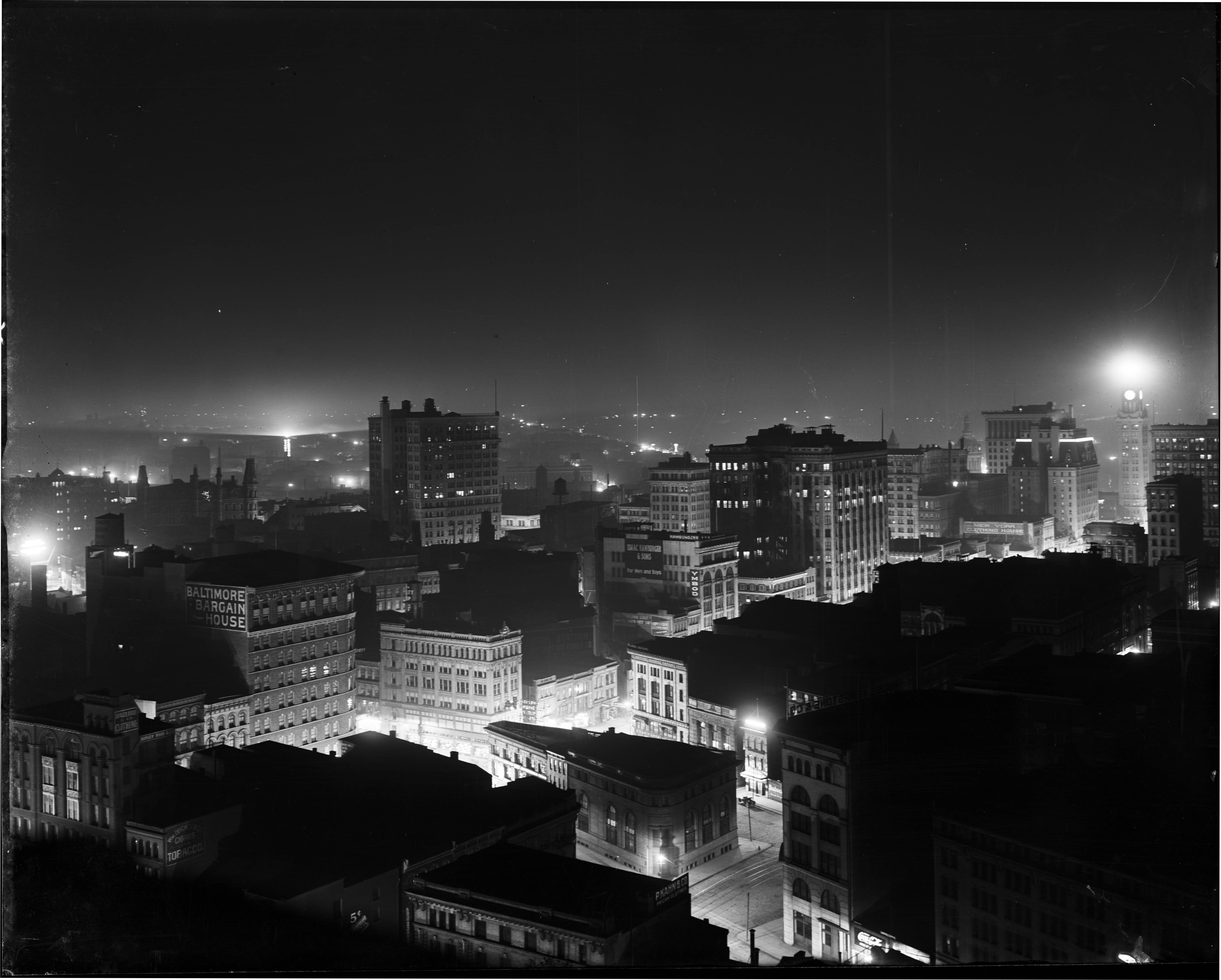 Baltimore at night from Emerson Tower